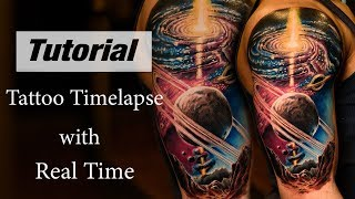 Tattoo On Dark Skin - Universe Tattoo Timelapse With Real Time