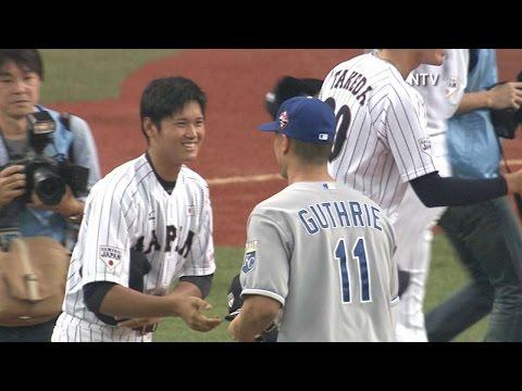 MLB@JPN: MLB, Japan exchange caps before game