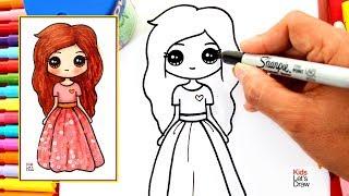 Cómo Dibujar Una MUÑECA KAWAII Con Vestido De Flores Brillantes | How To Draw A Cute Glitter Doll