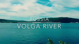 Russia. Volga River. Video from drone.