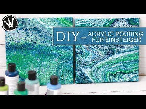 DIY - ACRYLIC POURING | Tutorial für Einsteiger | Deutsch | Acrylfarbe Fließtechnik | 2 Techniken