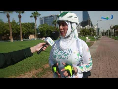 مقيمة تقطع 91 كيلومترا بدراجتها احتفالا باليوم الوطني