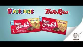 Nestlé Descubre el Campamento de Padres y las tabletas Nestlé Extrafino con galleta Dinosaurus y Tosta Rica anuncio