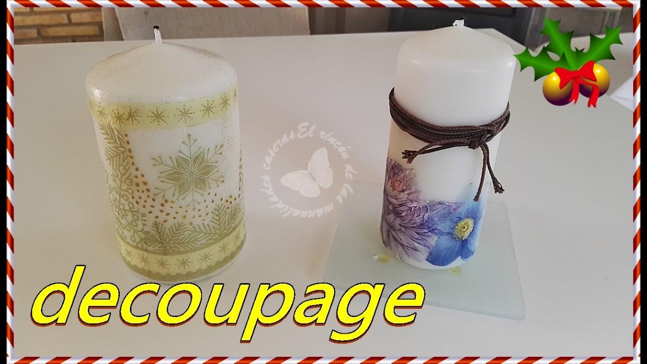 Velas decoradas con decoupage DIY