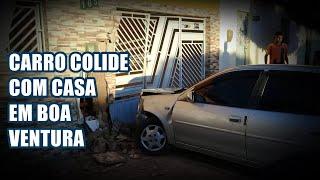Motorista perde controle de carro e colide com casa, em Boa Ventura (PB)