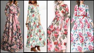 Chiffon Rose Printed Long Sleeve Casual Beach Dresses/ Floral Maxi Dress