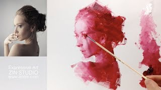 👨‍🎨Red mono: Oil Painting Portrait Demo.