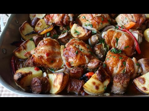 Chicken, Sausage, Peppers & Potatoes - How to Roast Chicken, Sausage, Peppers & Potatoes