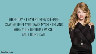 BACK TO DECEMBER - TAYLOR SWIFT (Lyrics)