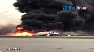 Detik-detik Pesawat Sukhoi Superjet 100 Terbakar Saat Mendarat Darurat