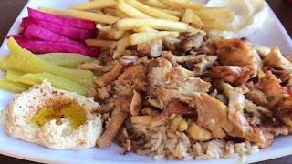 Lebanese Food   Chicken Shawarma Rice Platter | MUKBANG