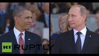 Смотреть онлайн Обама и Путин встретились взглядами во Франции