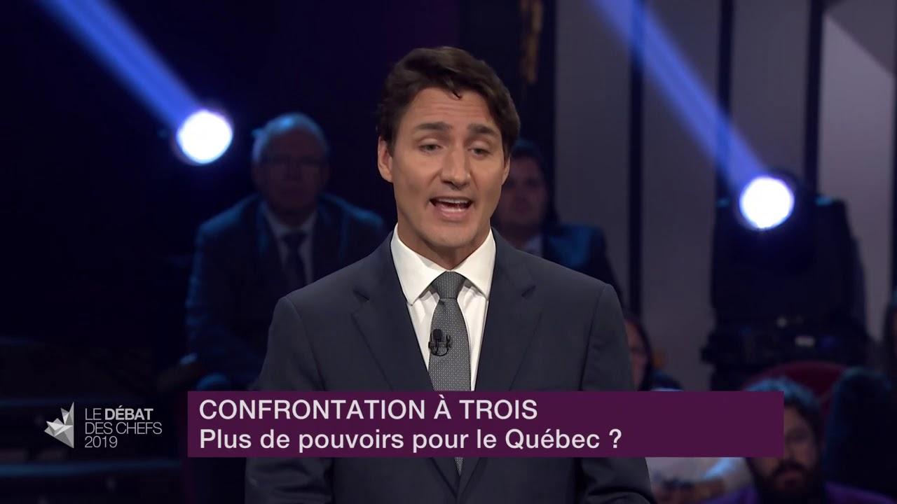 Elizabeth May, Justin Trudeau et Jagmeet Singh débattent sur les pouvoirs des provinces