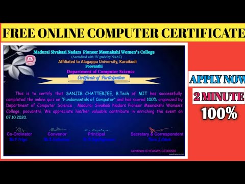 FREE COMPUTER CERTIFICATE | Free Online Course - YouTube