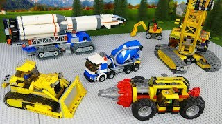 Lego Bulldozer, Concrete Mixer, Excavator, Dump Truck Toy Vehicles and Experimental Cars . Kids toys