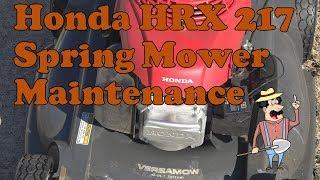 Spring Mower Maintenance on a Honda HRX217HYA lawn mower