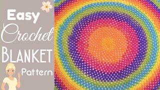 Easy Round Granny Square Baby Blanket - Crochet Pattern