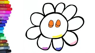 Flower Coloring Pages For Kids | Blume Zeichnen - Malvorlage Für Kinder - | GlitterArt