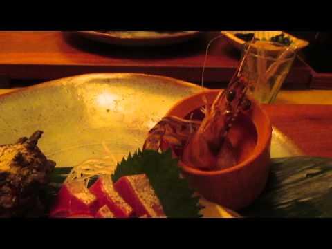 山口県 てしま旅館 夕食の生きてるエビ