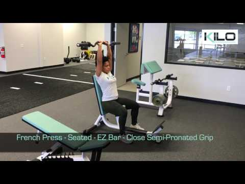French Press - Seated - EZ Bar - Close Semi-Pronated Grip