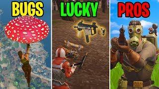 LANDING IN BANNED ZONES?! - BUGS vs LUCKY vs PROS - Fortnite Battle Royale Funny Moments!