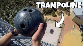 Bowling ball versus trampoline, who will win? SUBSCRIBE ➤ http://bit.ly/SubHowRidiculous BUY NEW MERCH ➤ http://bit.ly/HowRidiculousMerch  SOCIALS Instagram ➤ (@HowRidiculous): http://bit.ly/FollowHRonInsta Facebook ➤ http://bit.ly/HRFacey Snapchat ➤ howridiculousau Twitter     ➤ (@howridiculous): http://bit.ly/HRTweets  JOIN MAILING LIST  ➤ http://eepurl.com/bVPft1   We are passionate about seeing children released from poverty and we would love you to consider sponsoring a child with Compassion. We visited our sponsor children in the Philippines and were blown away by the difference that child sponsorship can make. To find out more about sponsoring a child right now, check out: http://cmpsn.co/howridiculous  What's the 44 Club you may ask? Well it all started in the outro of this video https://www.youtube.com/watch?v=AyLPMhp7qbs where we wondered if anyone was still watching the video at that point, and to comment 44 (Scott's fave number) if they were. Brett then said 44 Club get on board and the rest is history. The 44Club is the official How Ridiculous fan club made up of people who love our videos and watch them right to the very end. We've even got 44 Club merch now! So yeh, that's the story. Pretty random but good fun at the same time.  For Business or Media Inquiries: management@howridiculous.org For Licensing Inquiries: licenses@howridiculous.org  For online use, you may embed this YouTube video - for usage in other players please contact us for permission. © Copyright 2018 How Ridiculous