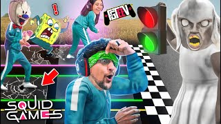 SQUID GAMES: BLIND Red Light Green Light vs. my WIFE! (FGTeeV Mobile Rip-off Challenge w/ Granny)