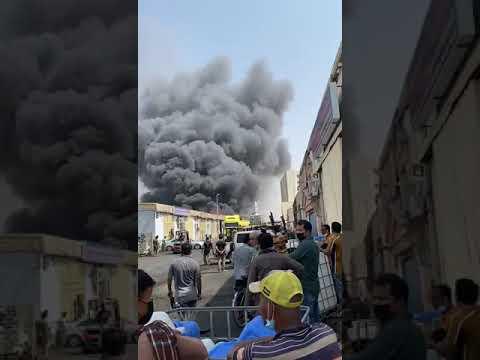 حريق بالمنطقة الصناعية بالشارقة