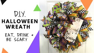 Halloween Wreath DIY: Eat, Drink & Be Scary Deco Mesh Wreath Tutorial