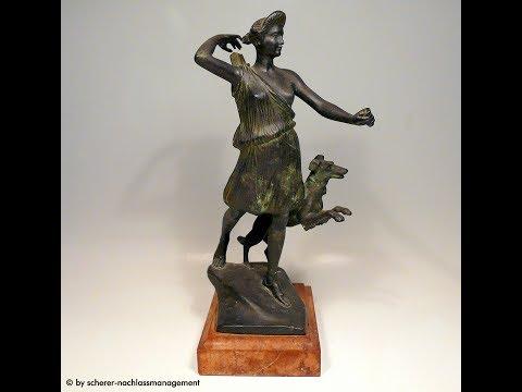 BRONZE FIGUR H. MÜLLER DIANA JAGD Skulptur Plastik Art Déco Jugendstil Dortmund