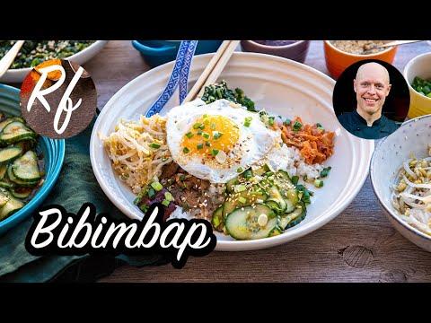 Min variant på Bibimbap som är en slags rispytt från Korea. Här med kött eller svamp, stekt ägg och förslag på tillbehör.>