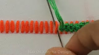 Hand Embroidery Stitches, Two Decorative Border Line Designs, Easy Embroidery Designs