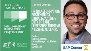 Youtube: Digital Talk | HR TRANSFORMATION: SOSTENIBILITÀ, DIGITALIZZAZIONE E DUTY OF CARE. LE PERSONE TORNANO A ESSERE AL CENTRO