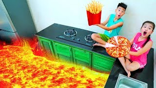 The floor is lava for Kay play cooking food toys