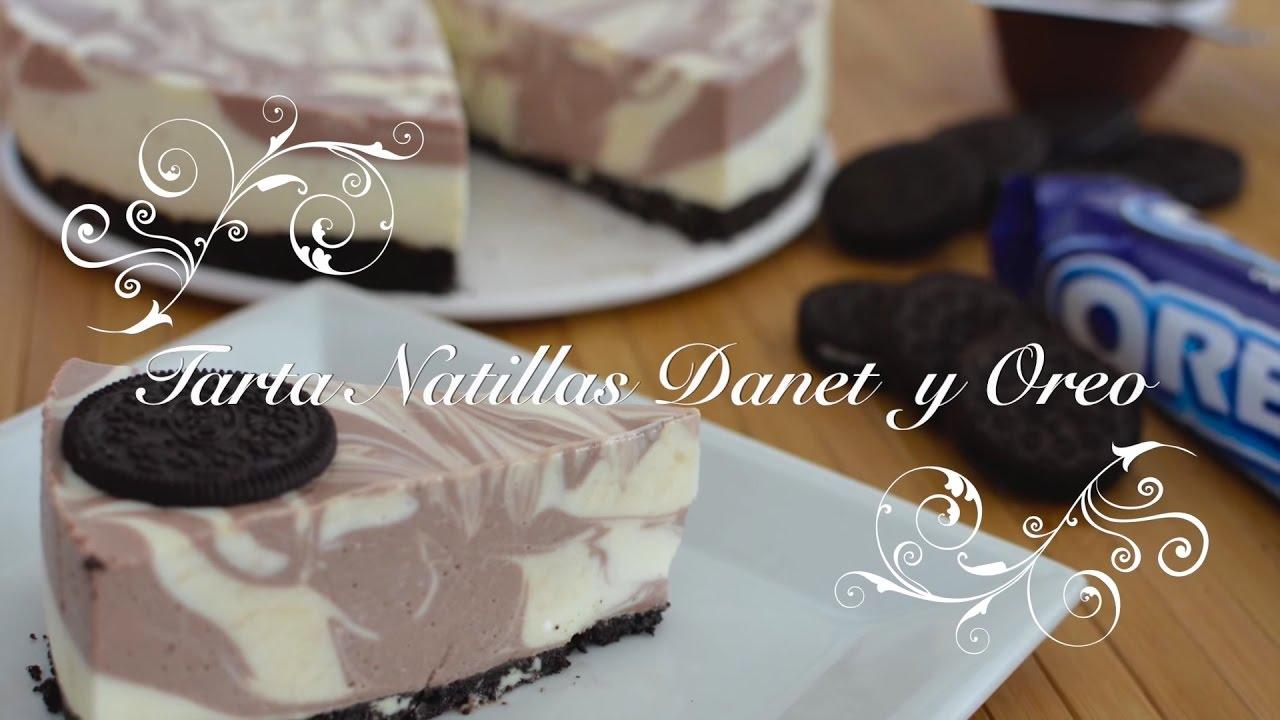 Tarta de Natillas Danet y Galletas Oreo | Tartas sin Horno | Tarta de Oreo | Tarta Natillas Danet