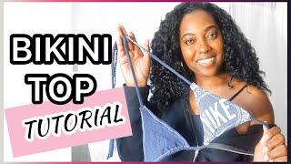 HOW TO MAKE YOUR OWN TRIANGLE BIKINI TOP & BIKINI PATTERN USING A T SHIRT