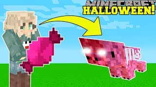 Minecraft: HALLOWEEN SIMULATOR VS THEA! (CANDY, JUMPSCARES, & MORE!) Modded Mini-Game