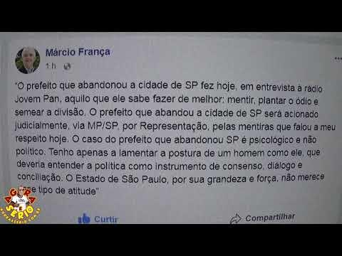 Governador de São Paulo Márcio França detona Ex Prefeito João Dória nas redes Sociais