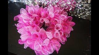 NashSistersValentine ||  Heart-shaped Deco Mesh Wreath || Dollar Tree Under $10