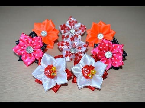 Украшения для волос мастер класс резинки для волос своими руками DIY handmade hair flower kanzashi