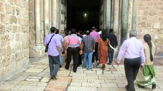 Believers entering the Church of the Holy Sepulcher