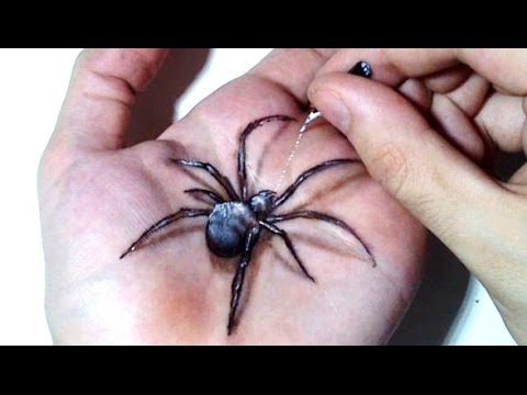 уроки живописи Hand Art 3d Hideous Spider Drawing
