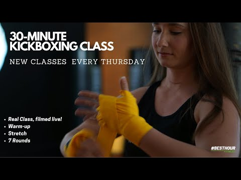 30-Minute Fitness Kickboxing Class, with Warm-up and a full 7 rounds!