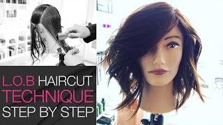 How To Cut A LOB Haircut With A Razor In Under 10 Min - Step By Step Medium Length Haircut