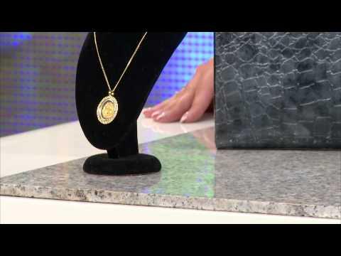 Glas-Herzanhänger mit 23K-Blattgold inkl. vergoldeter Kette