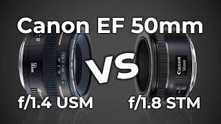 Canon EF 50mm f/1.4 USM против EF 50mm f/1.8 STM