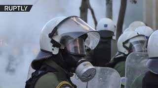 Greece Grecja | Police clash with protesters in front of Athens university