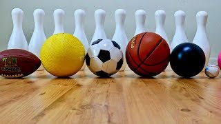 Learn Different Sport Ball Names with Big Bowling Pins