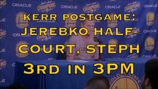 KERR postgame: Steph Curry 3rd on all-time threes list, Jerebko halfcourt buzzer-beater, Draymond