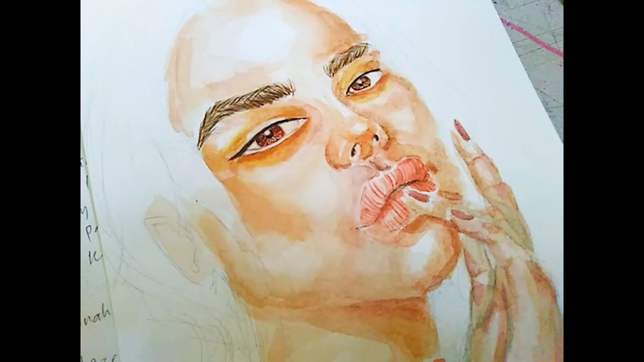 watercolor portrait painting step by step tutorial by choco queen